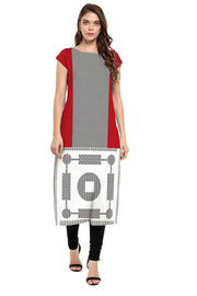 Crepe Digital Print Kurta in Red and Grey