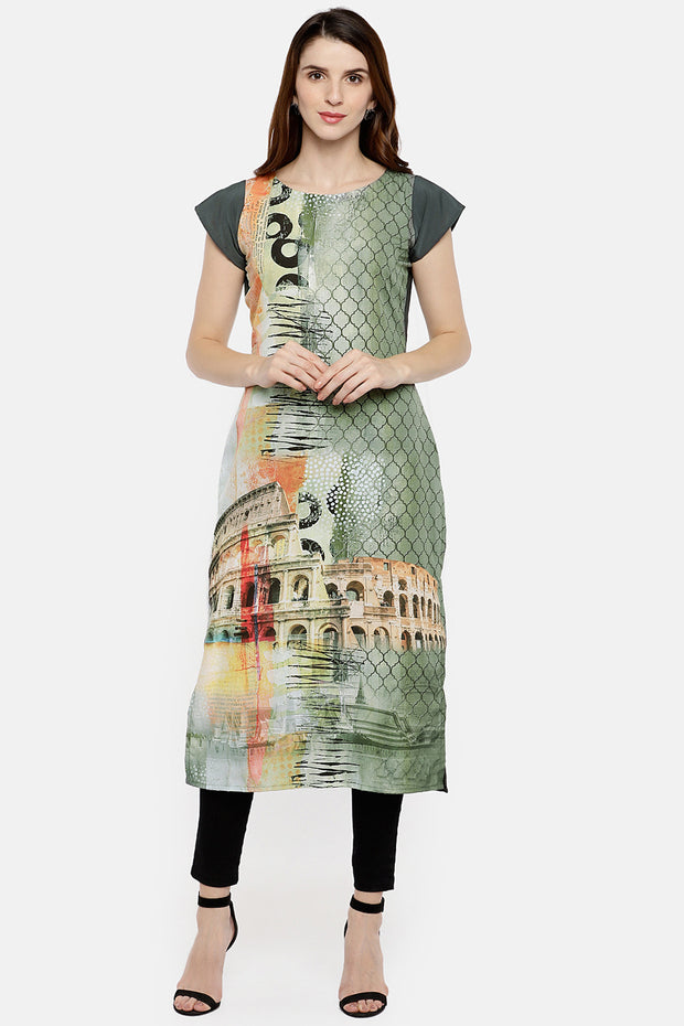 Crepe Digital Print Kurta in Grey