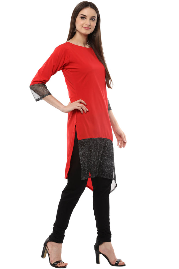 Crepe Solid Kurta in Red