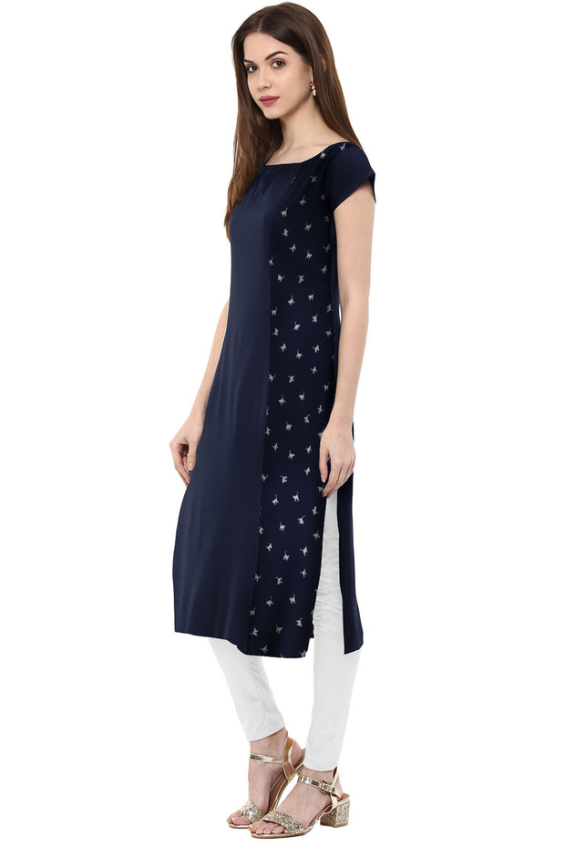 Crepe Printed Kurta in Blue