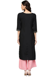 Georgette Solid Kurta in Black