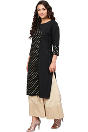 Georgette Foil Print Kurta in Black