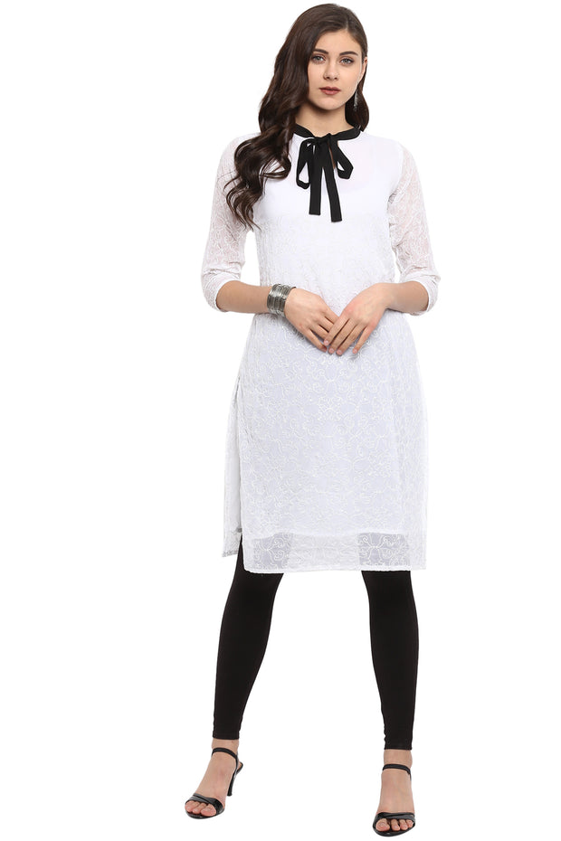 Organza Embroidered Kurta in White