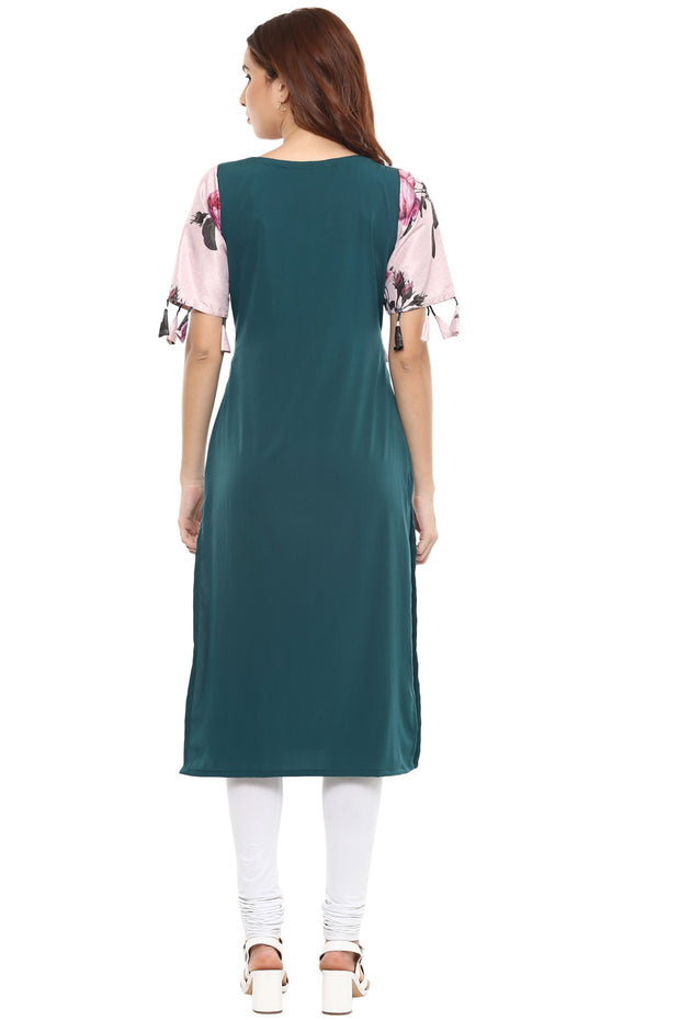 Crepe Digital Print Kurta in Pink and Green