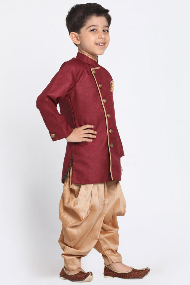 Boy's Cotton Art Silk Kurta Set in Maroon