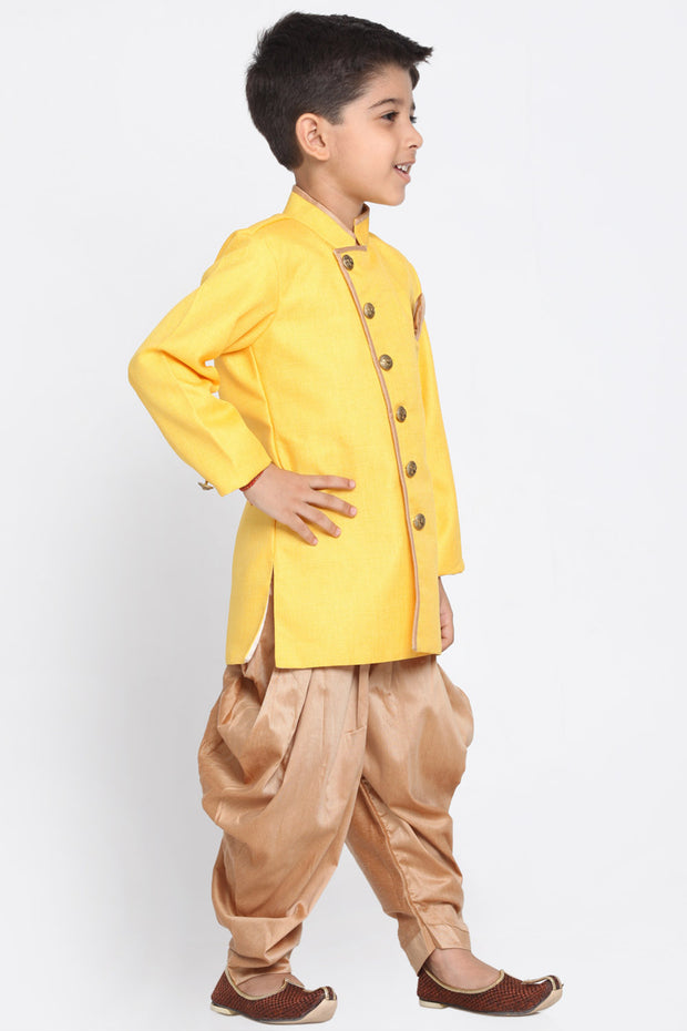 Boy's Cotton Art Silk Kurta Set in Yellow
