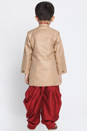 Boy's Cotton Art Silk Kurta Set in Brown