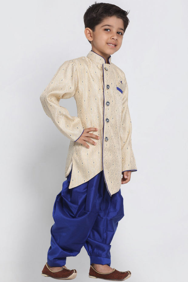Boy's Cotton Art Silk Kurta Set in Blue