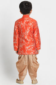 Boy's Cotton Art Silk Kurta Set in Orange