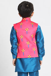 Boy's Cotton Art Silk Nehru Jacket in Pink