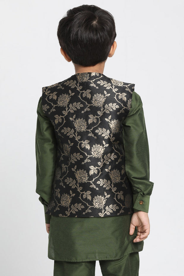 Boy's Cotton Art Silk Nehru Jacket in Black