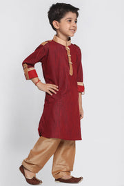 Boy's Blended Cotton Pathani Suit Set in Maroon