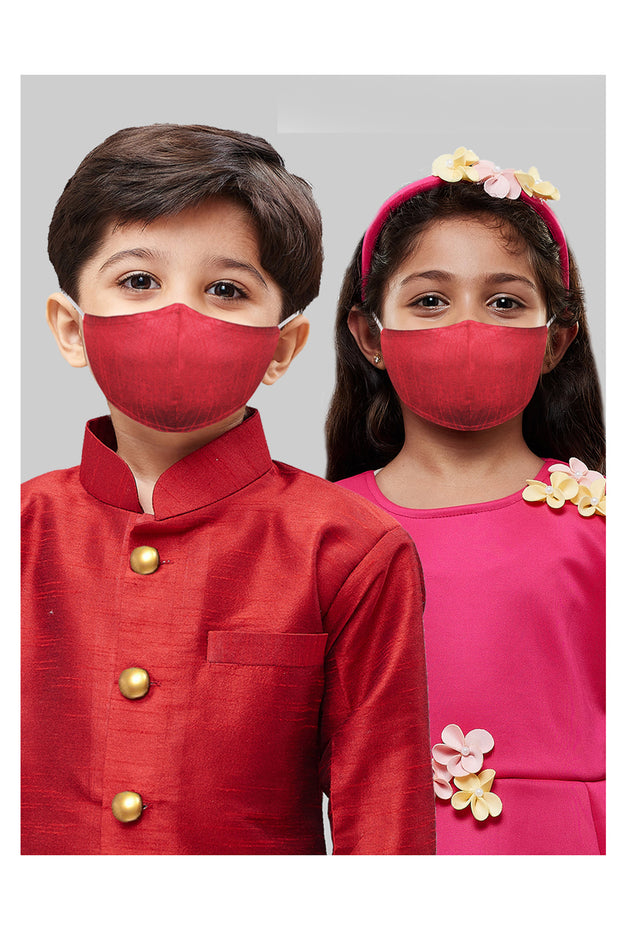 Kids Cotton Blend Face Mask in Maroon (Pack Of 3)
