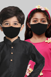 Kids Cotton Blend Face Mask in Black (Pack Of 3)