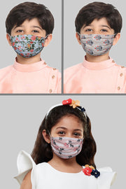 Kids Cotton Blend Face Mask in Pink (Pack Of 3)