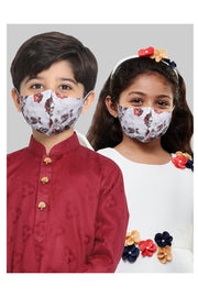 Kids Cotton Blend Face Mask in Multicolor (Pack Of 3)