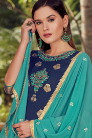 Art Silk Embroidered Dress Material in Blue