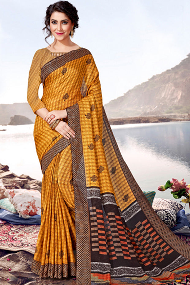Blended Cotton Printed Saree in Yellow