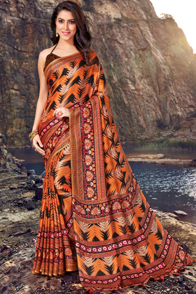 Blended Cotton Printed Saree in Orange