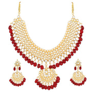 I Jewels Women's Alloy Choker Necklace Set in Red