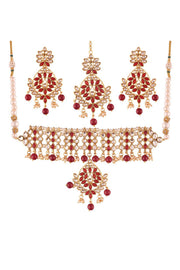 Alloy Necklace Set with Maang Tikka in Red
