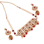 I Jewels Women's Alloy Necklace Set in Red