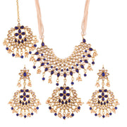 Alloy Necklace Set with Maang Tikka in Blue