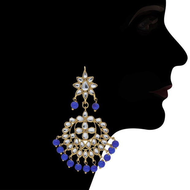 I Jewels Women's Alloy Necklace with Earrings and Maang Tikka in Blue