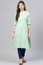 Blended Cotton Kurti Set in Green