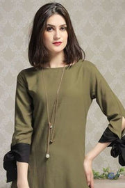 Faux Georgette Kurti in Olive Green And Black
