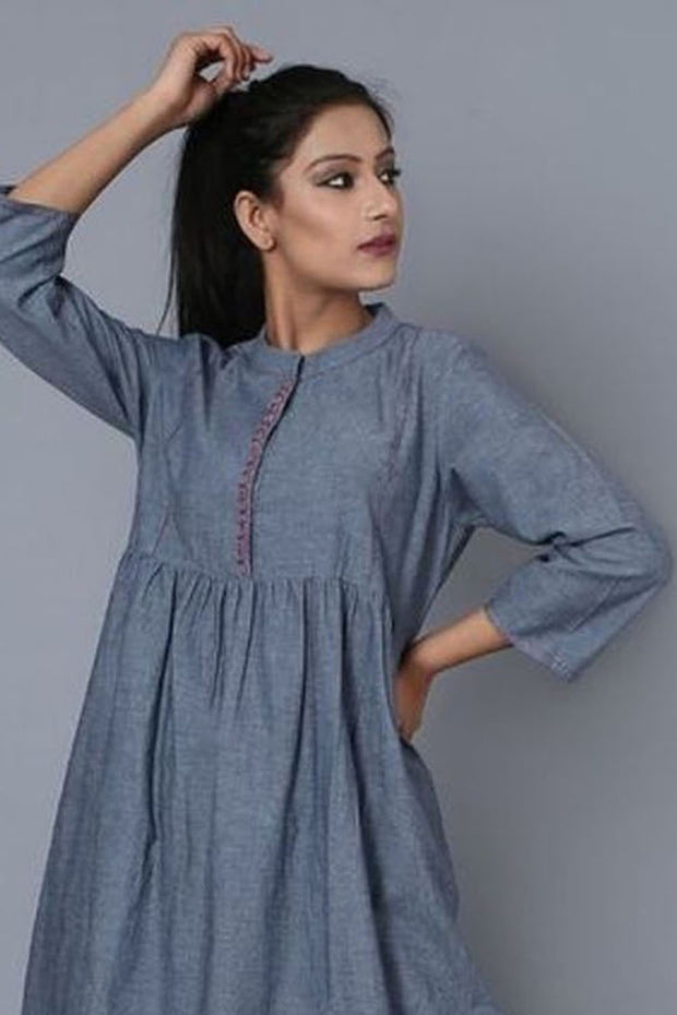 Blended Cotton Kurti Set in Blue