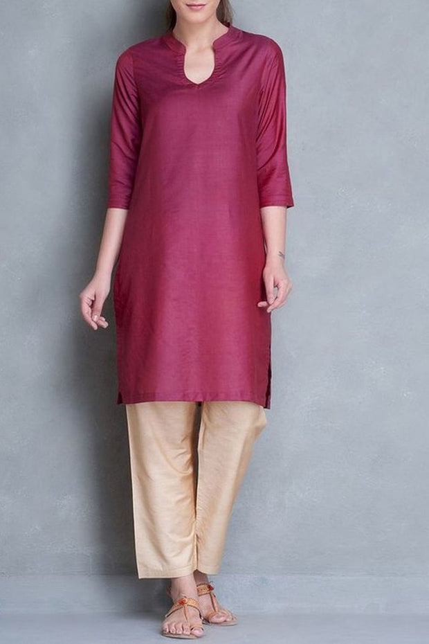 Art Silk Kurti Set in Maroon