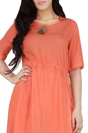 Rayon Kurti Set in Orange