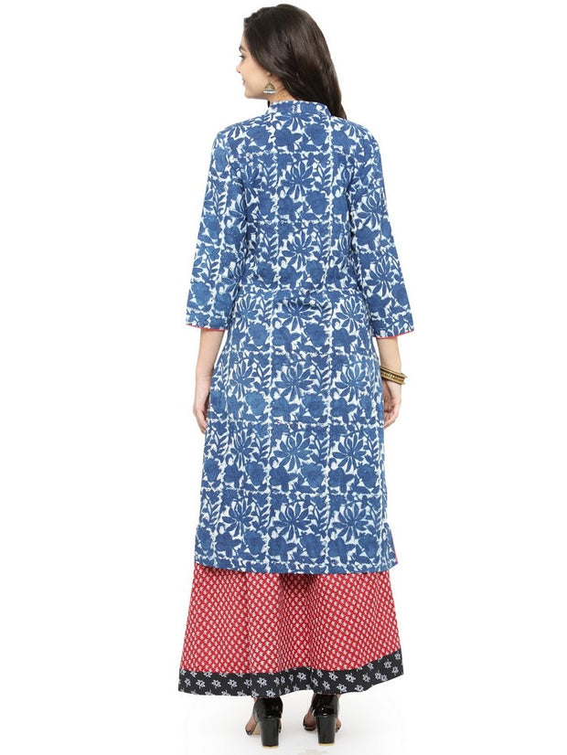Cotton Hand Block Print Kurta in Blue