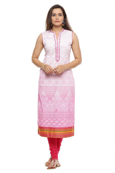 Cotton Khadi Print Kurta in Pink