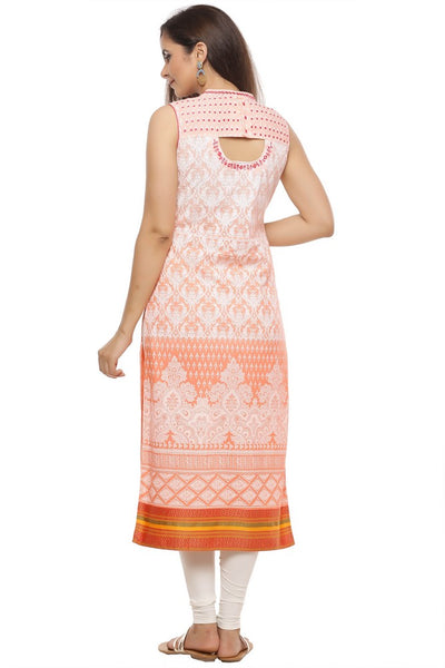 Cotton Khadi Print Kurta in Peach