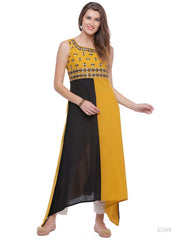Cotton Embroidered Kurta in Yellow