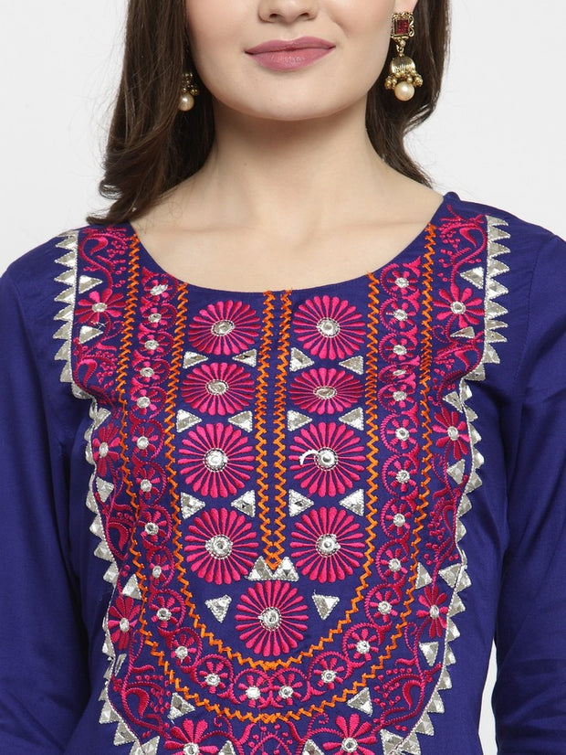 Cotton Embroidered Kurta in Blue