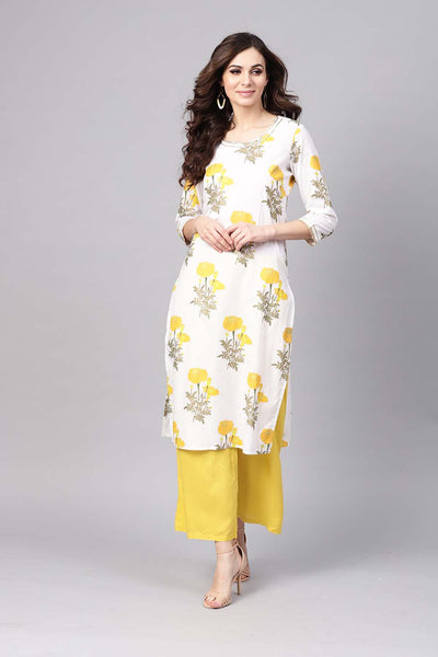Shop Cotton Printed Kurta White And Yellow Online