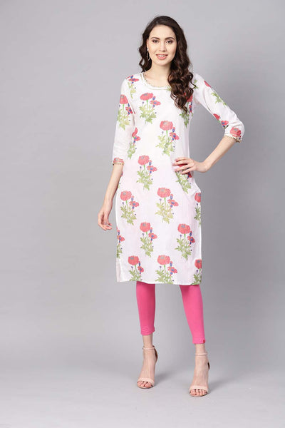 Cotton Kurta in White and Pink