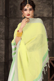 Cotton Art Silk Printed Saree in light green