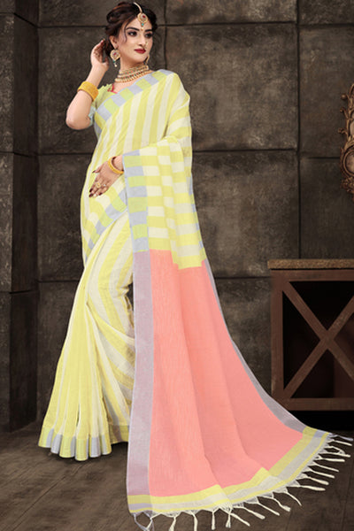 Cotton Art Silk Printed Saree in Yellow