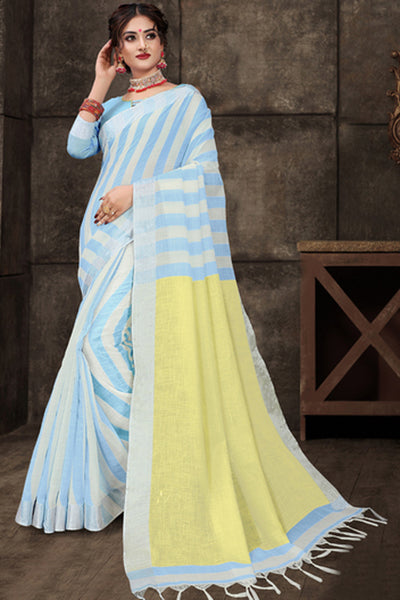 Cotton Art Silk Printed Saree in Sky Blue
