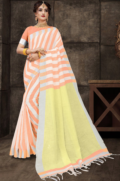 Cotton Art Silk Printed Saree in Orange