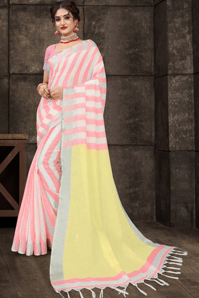 Cotton Art Silk Printed Saree in Light Pink