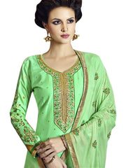 Stylee Lifestyle Women's Satin Embroidered Dress Material in Green