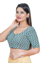 Blended Cotton Padded Blouse in Green