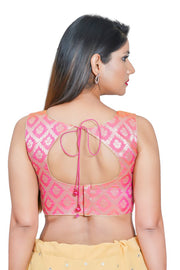 Jacquard Padded Blouse in Light Pink
