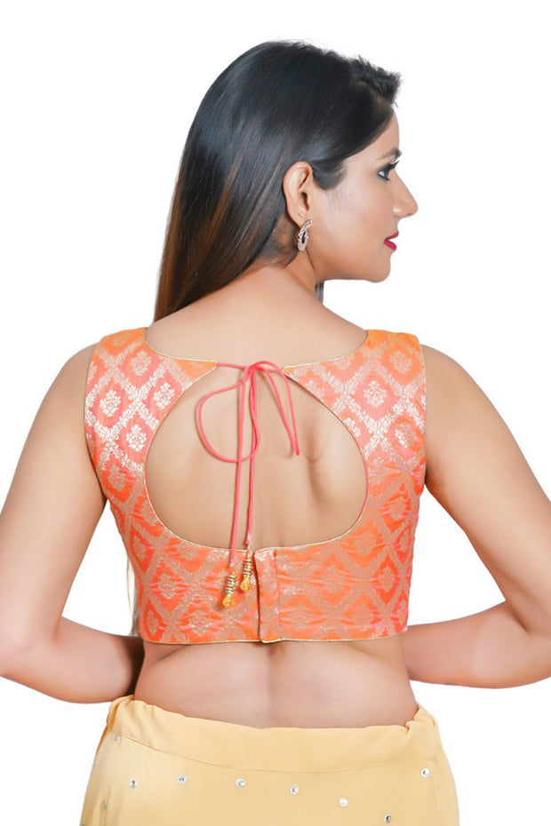 Jacquard Padded Blouse in Peach