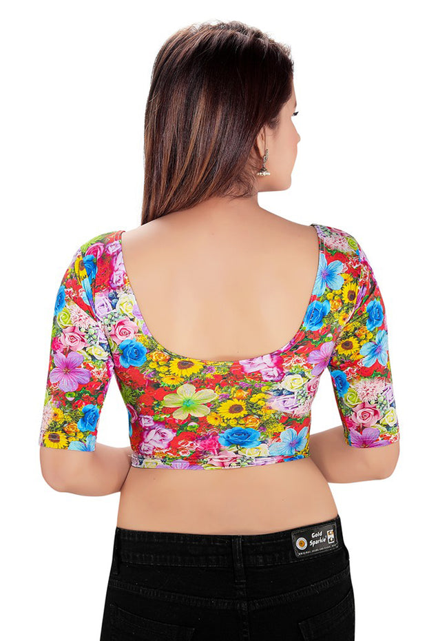 Nylon Lycra Blouse in Multi